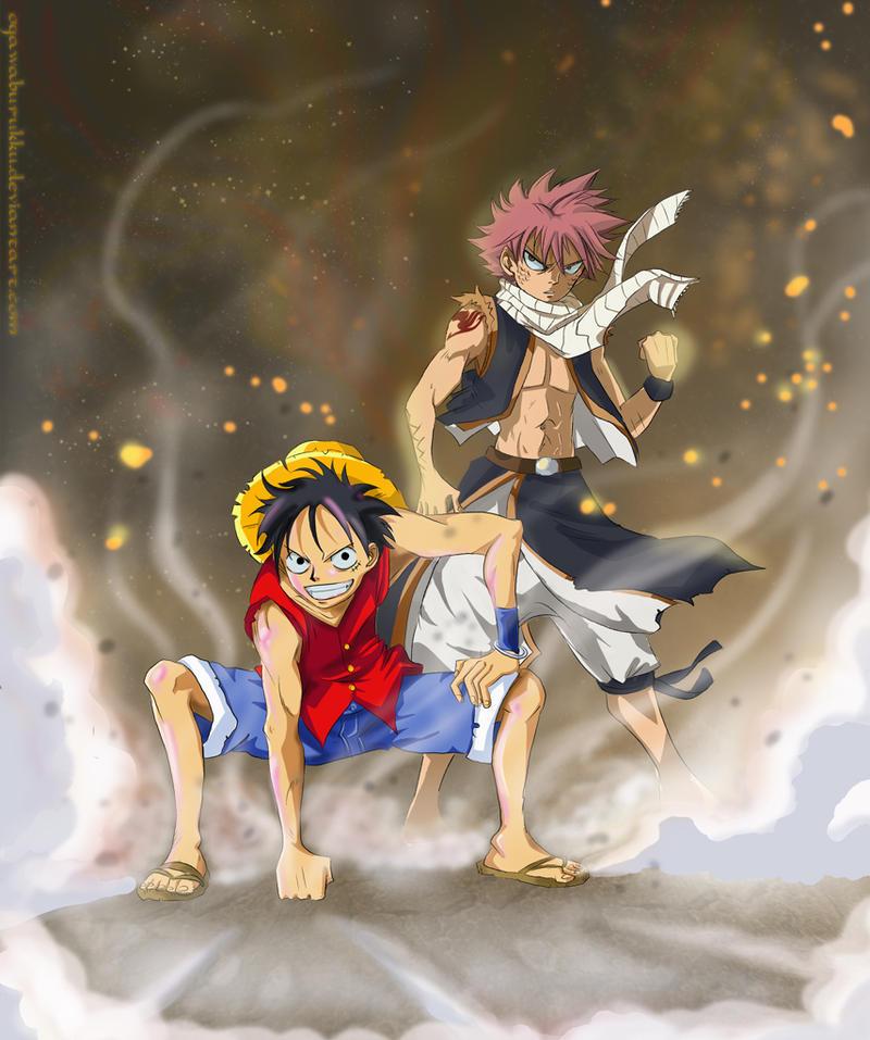 Luffy and Natsu by OgawaBurukku