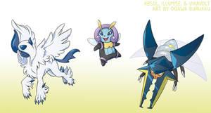 Pokemon Drawz Day 7: Absol Illumise and Vikavolt by OgawaBurukku
