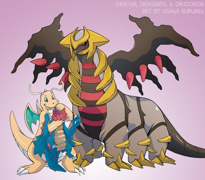 Pokemon Drawz Day 12: Giratina Dragonite Druddigon by OgawaBurukku