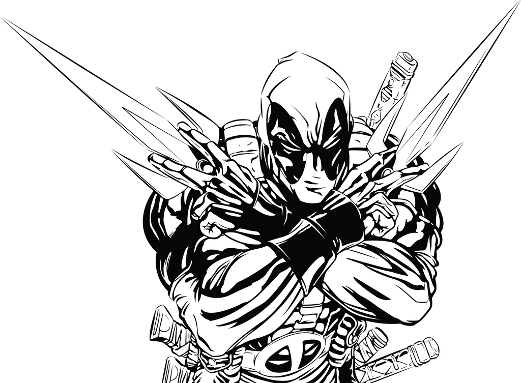 Deadpool WIP lineart by GabeRios