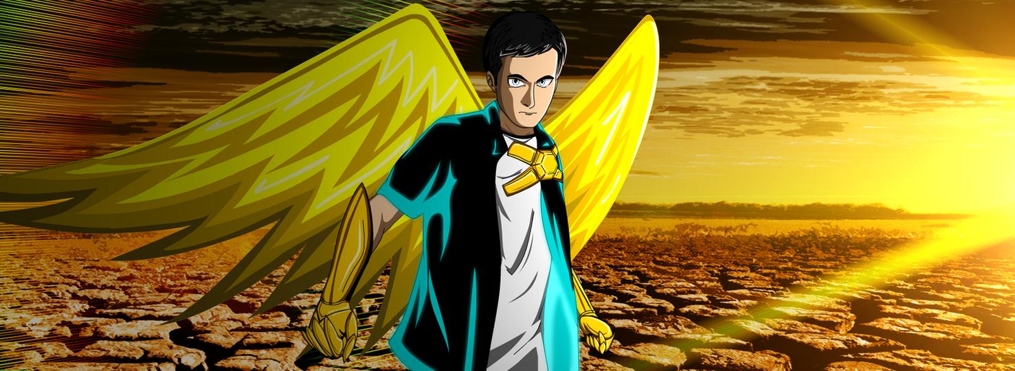 Hero preparing for battle in wasteland by DiamondTheMaster