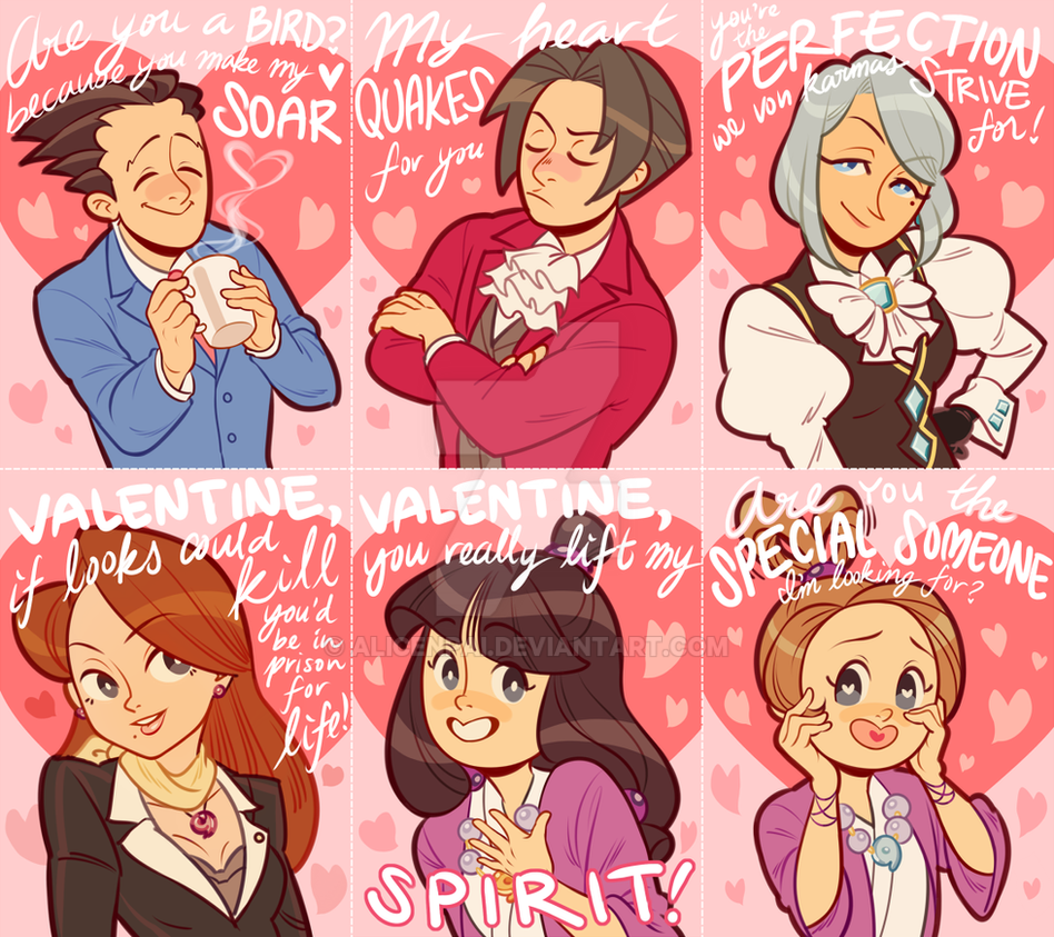 Ace Attorney Valentines!!! by alicenpai