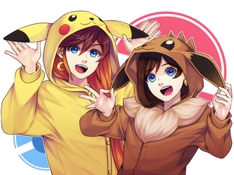 Athena and Trucy in Pokemon Onesies