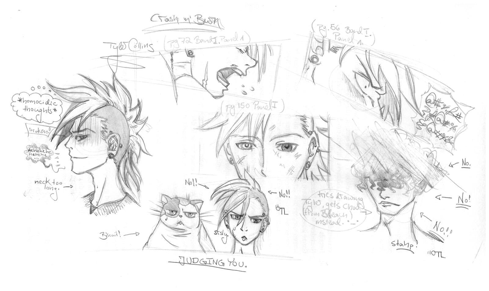 Crash 'n' Burn Fan Doodles by VegemiteGuzzler