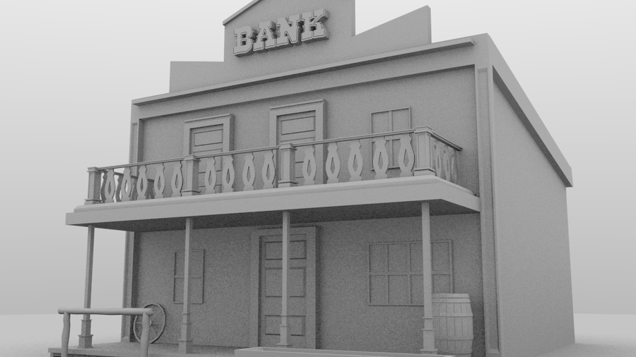 Line Art Rendering Of 3d Models : Western building d model ground level render by
