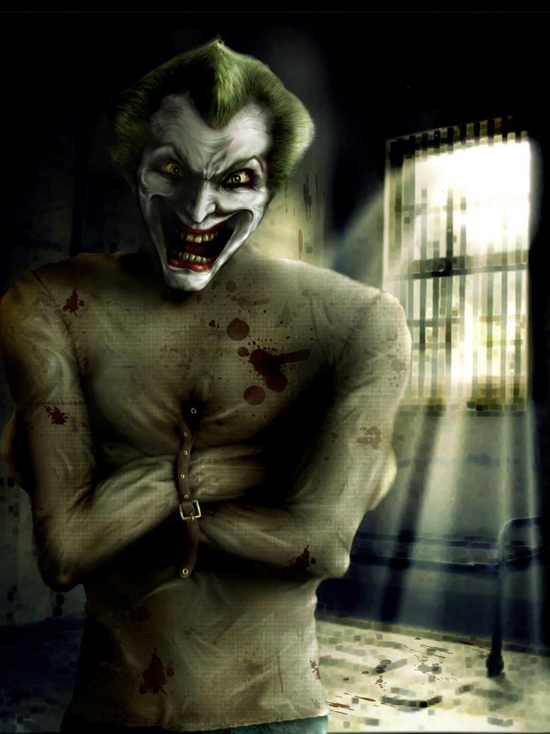 The Joker in Arkham by Grecia Villar by PrincessOfCrime