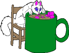 Cat Drinking Hot Chocolate Chatlands Pose (right) by PixelSpiritFlame