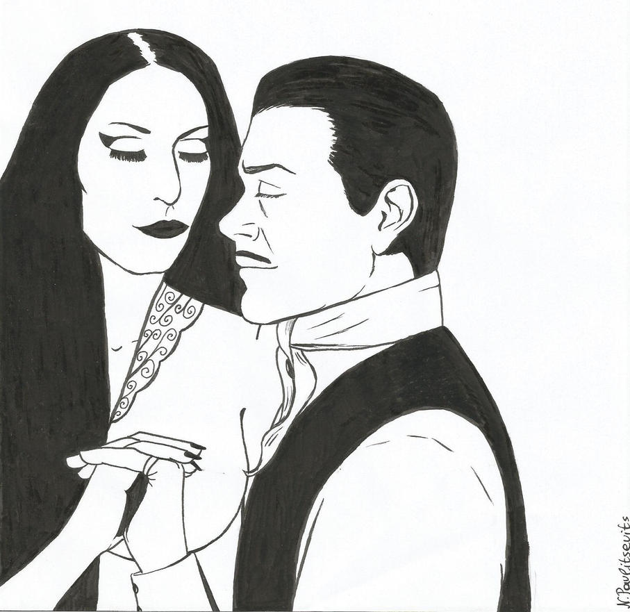 The Addams Couple, Inktober 3 by Natasha-Pavlitsevits