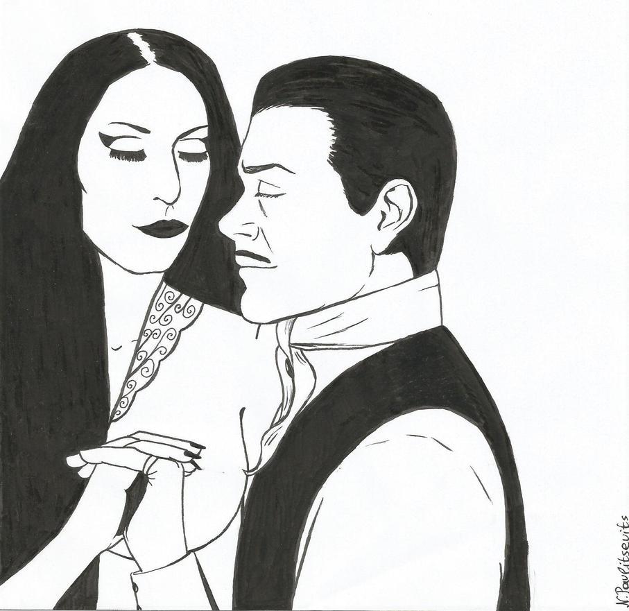 The Addams Couple, Inktober 3 by Natasha-Pavlitsevits