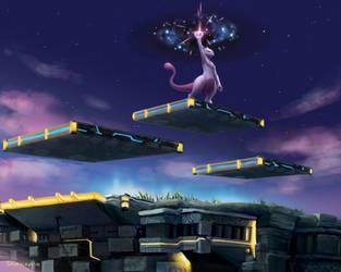 Mewtwo atop Battlefield by YYHyasha
