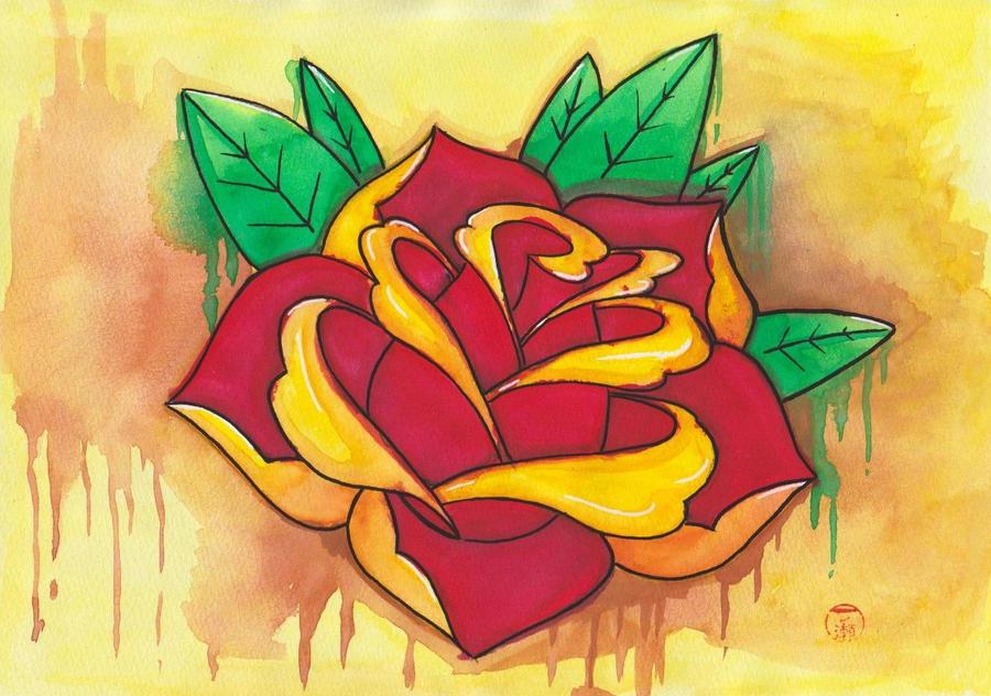 Old School Rose by Laranj4 on DeviantArt