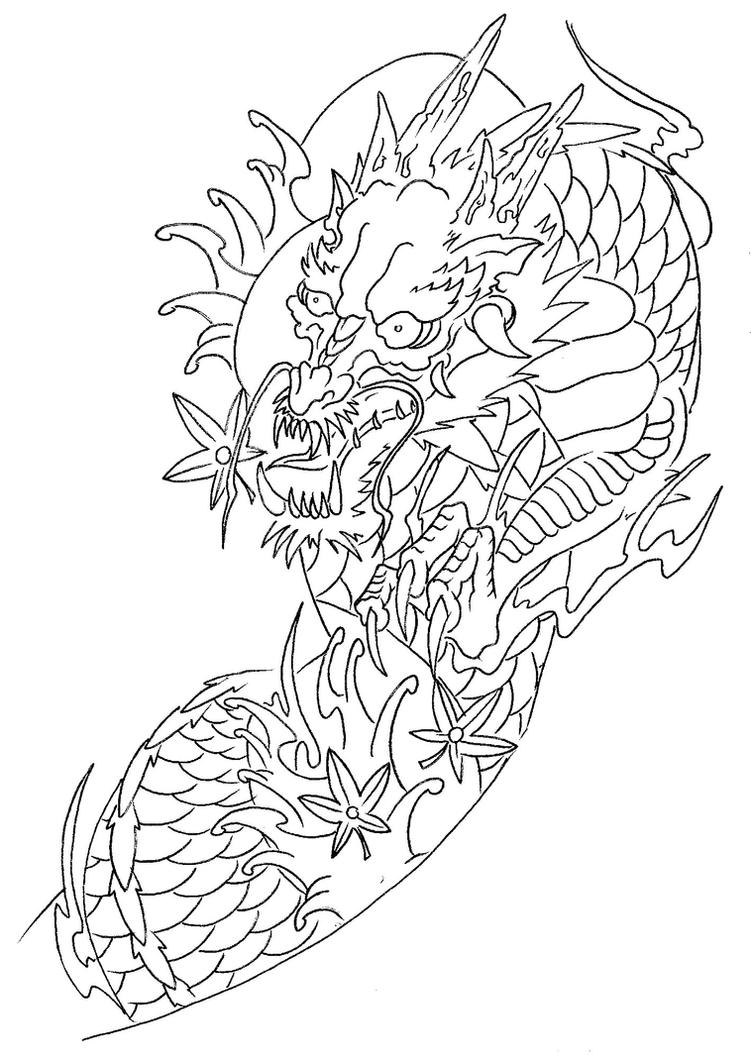 Line Drawing Tattoo Sleeve : Dragon sleeve outline by laranj on deviantart