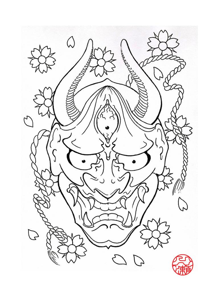 Line Drawing Tattoo Artists : Hannya mask by laranj on deviantart