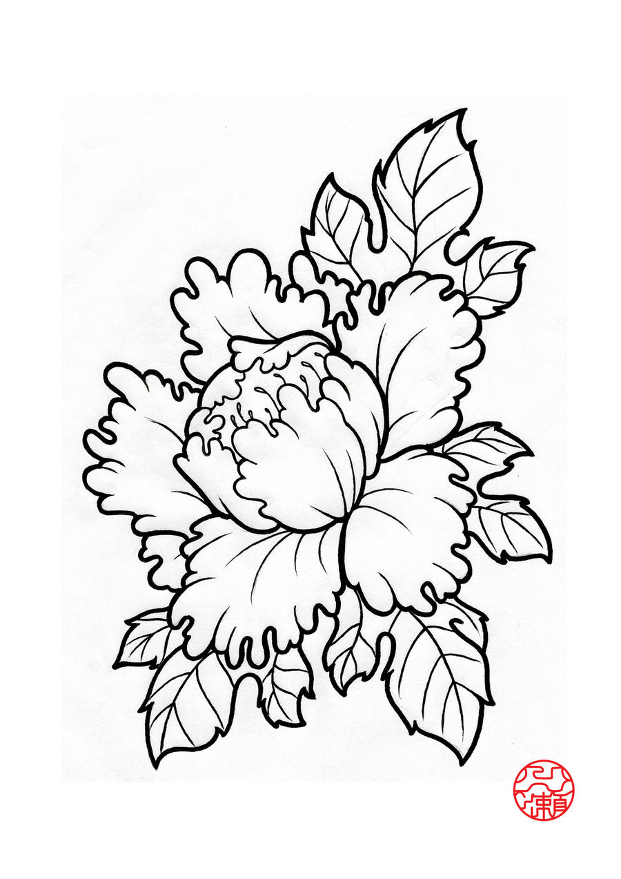 Chinese Flower Line Drawing : Peonies by laranj on deviantart
