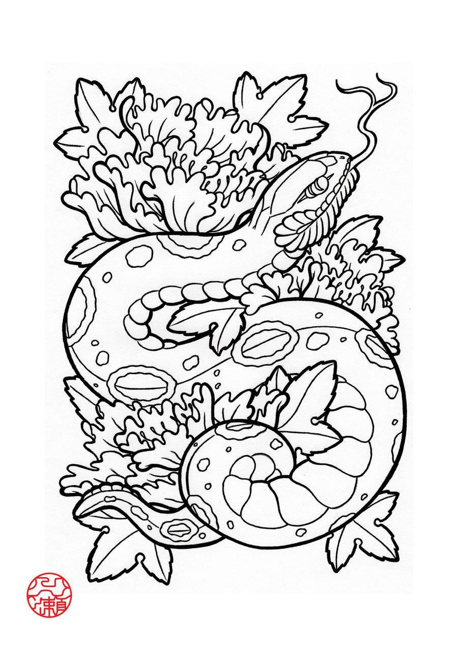 Snake Tattoo Line Drawing : Snake by laranj on deviantart