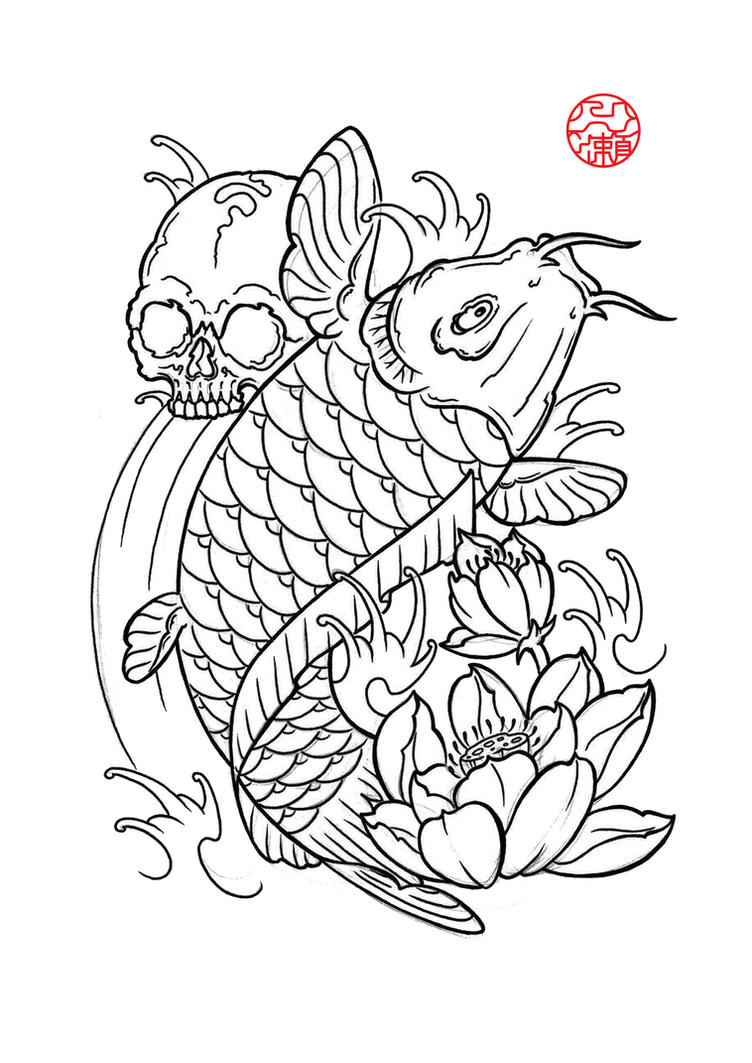 Dragon koi fish drawing outline - Dessin carpe koi ...