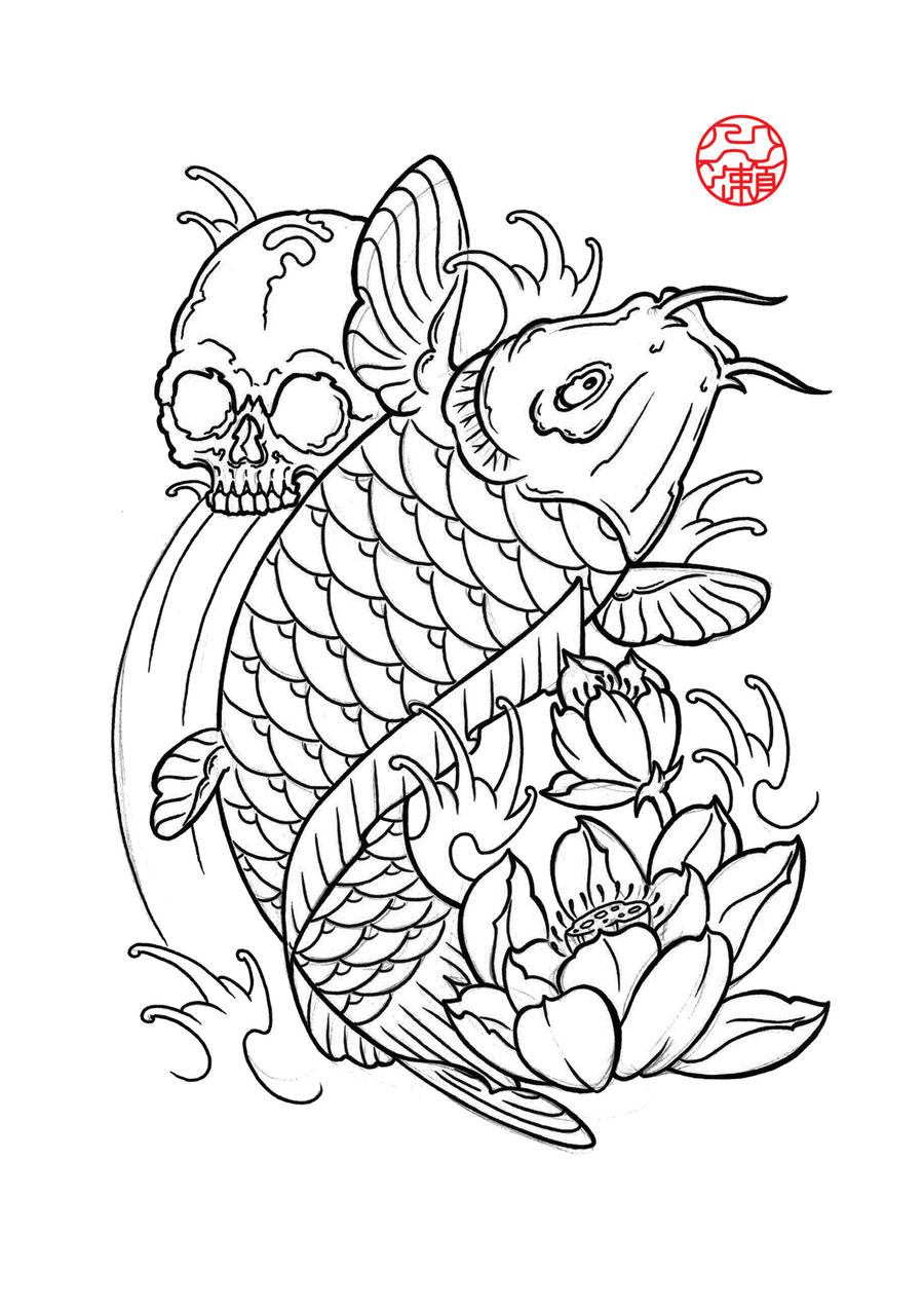 Koi 6 by laranj4 on deviantart for Koi fish outline