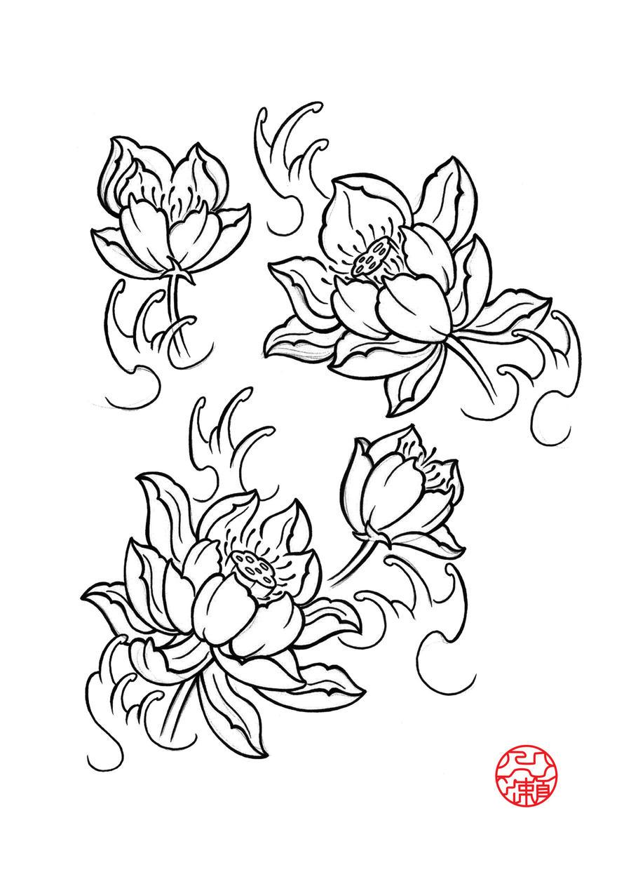 Lotus Flower Tattoo Drawing