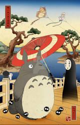 Woodblock print style Ghibli family