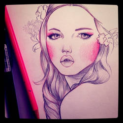 Girl with pink cheeks