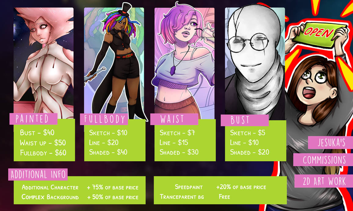 2D Commissions are [OPEN] (Points or $$$)