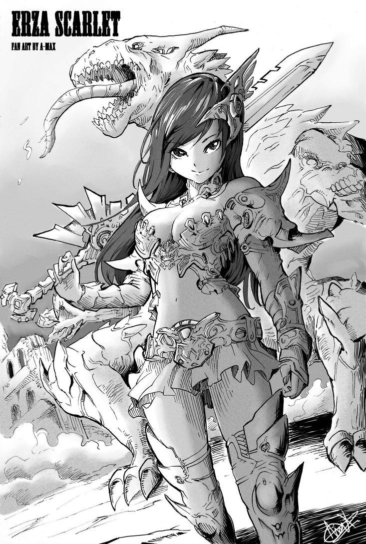 Erza scarlet (fan art of Fairy tail) by MassivePinkZombie