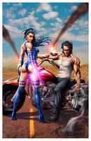 Psylocke and Logan by CValenzuela