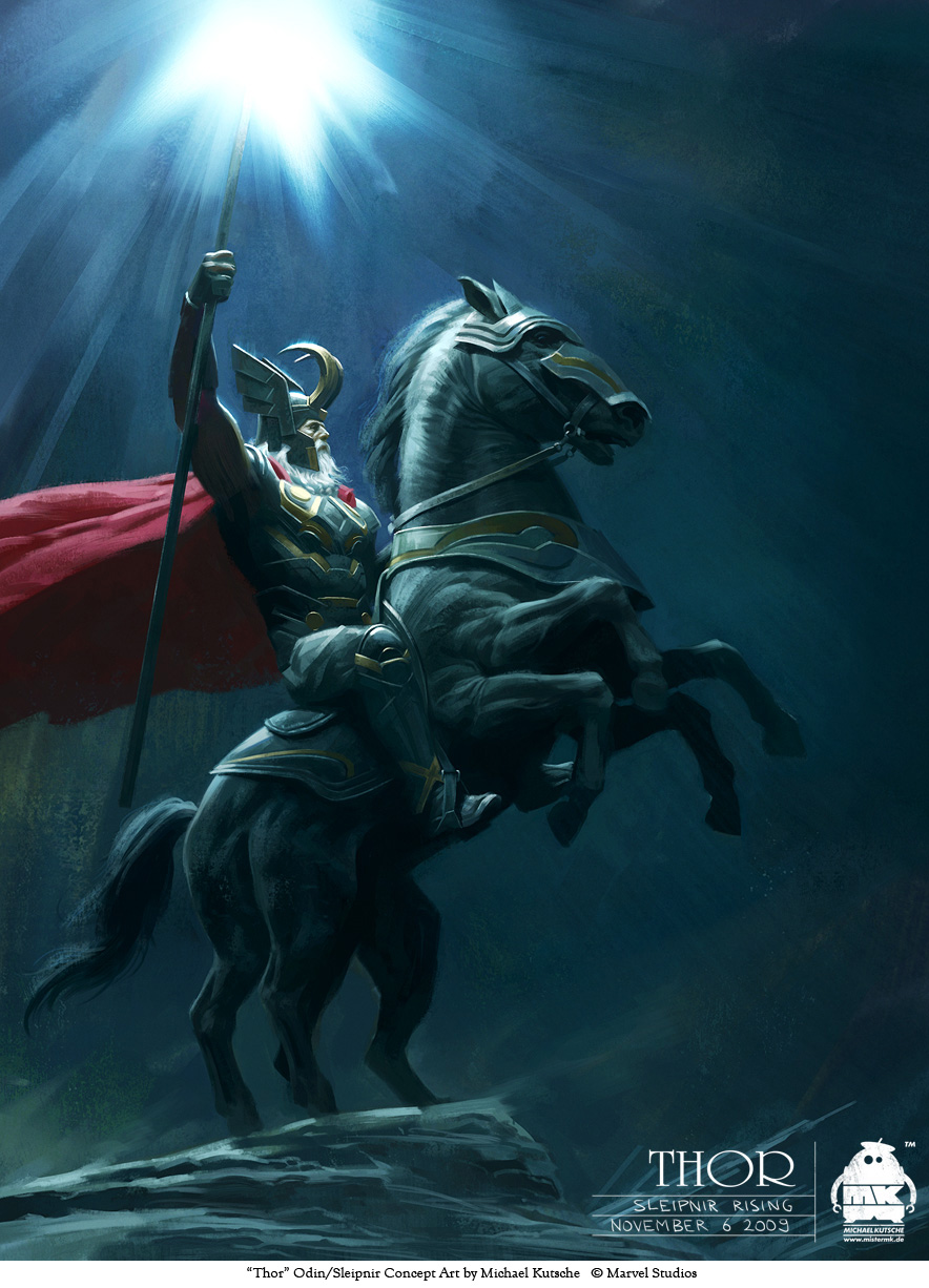 Thor - Odin and  Sleipnir by michaelkutsche