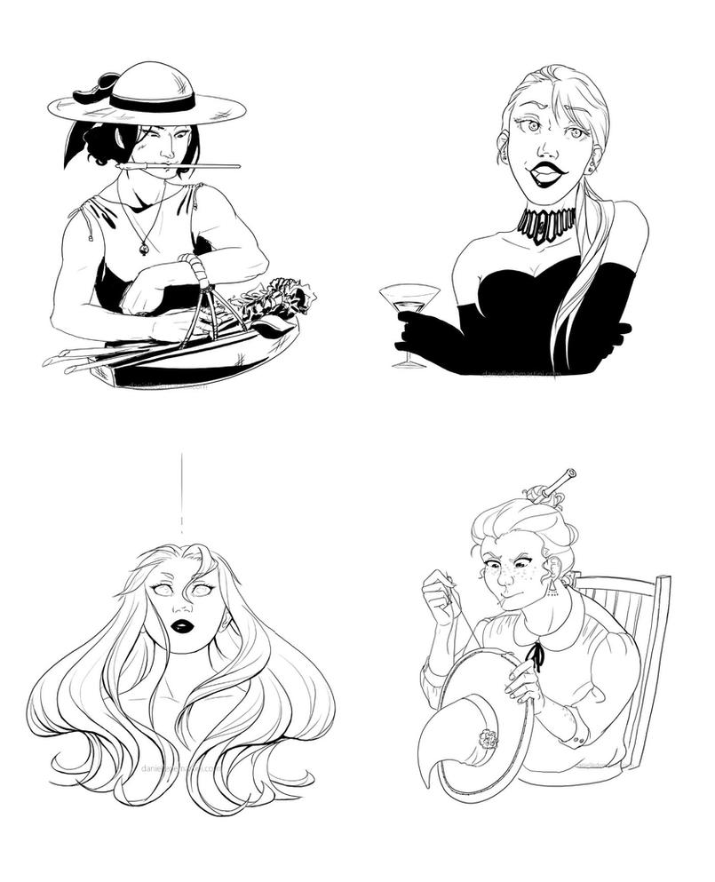 Inktober Witches 4-7 by danielledemartini