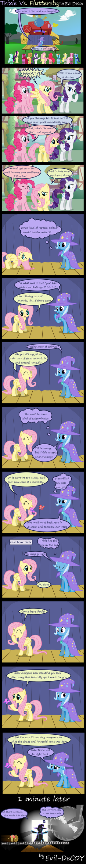 Trixie Vs. Fluttershy by Evil-DeC0Y