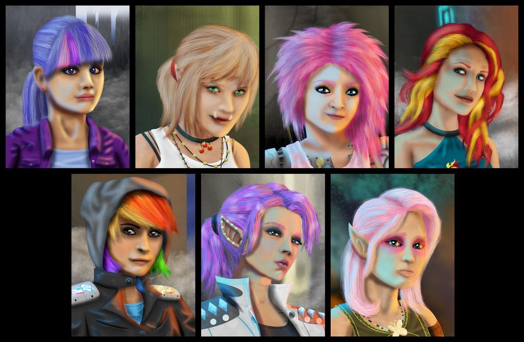 MLP Shadowrun Portrait Set (Commission) by Evil-DeC0Y