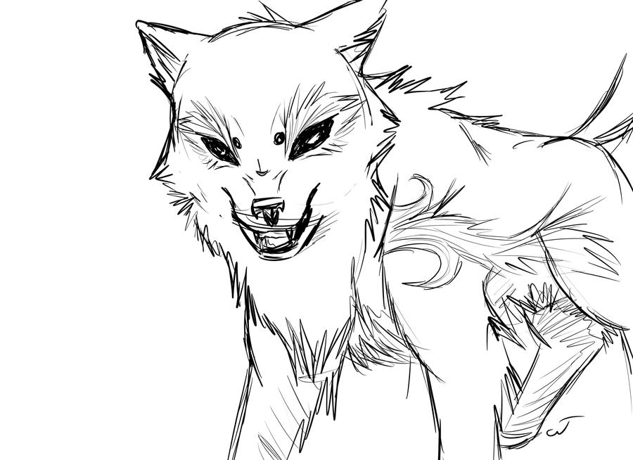 Wolf snarling side view drawing - photo#1
