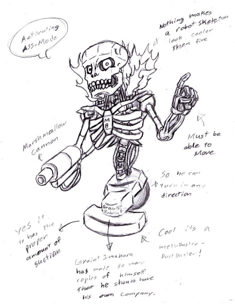 Robot Skeleton Sketch by The-Pervy-SageRobot Face Drawing