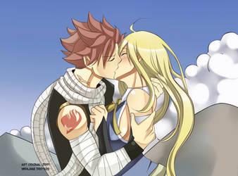 Natsu and Lucy kiss NaLu by genezizpa