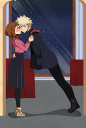 Bakugo and Uraraka christmas kiss by genezizpa