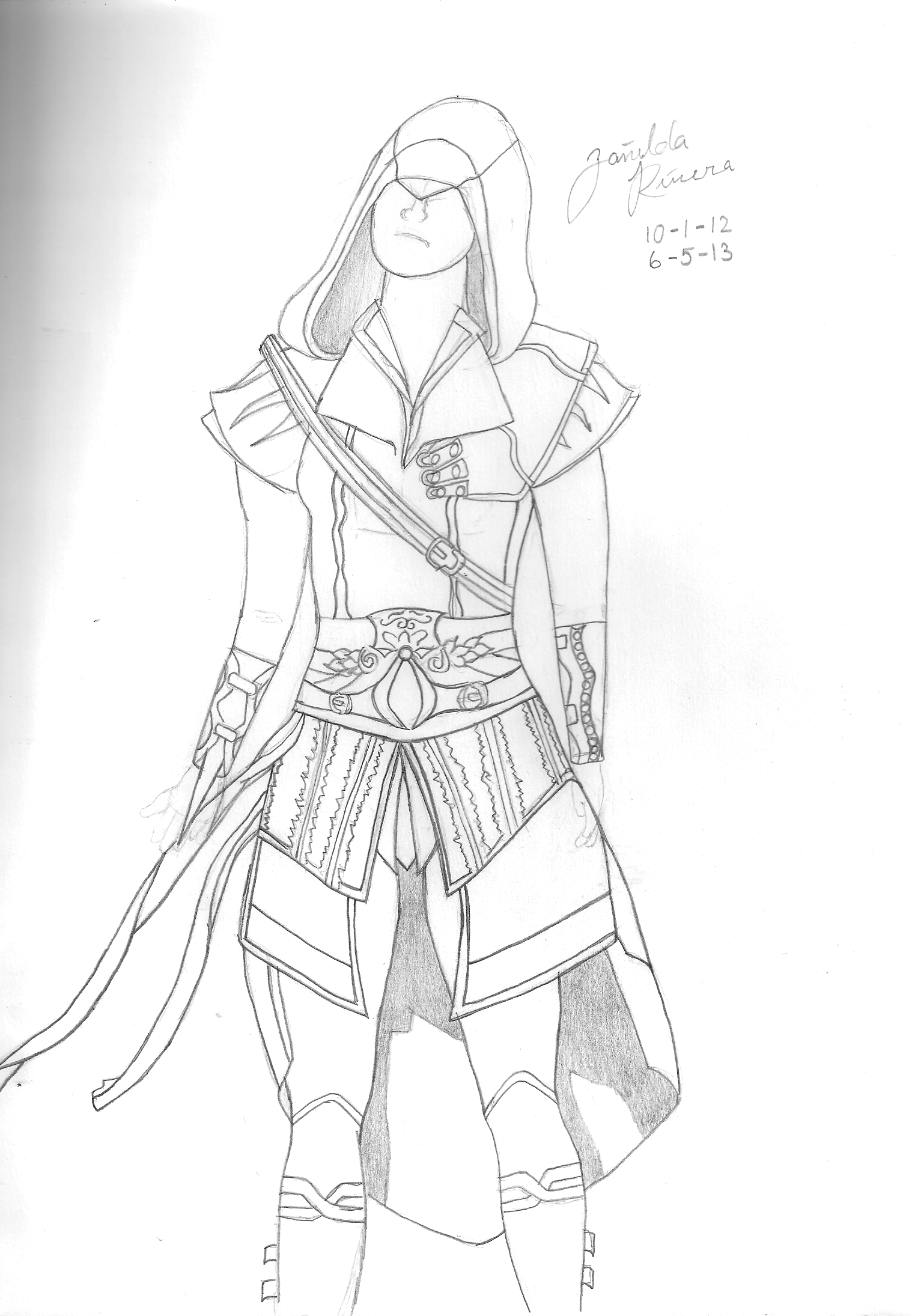 Assassins Creed Female W O Color By Stephdy On Deviantart