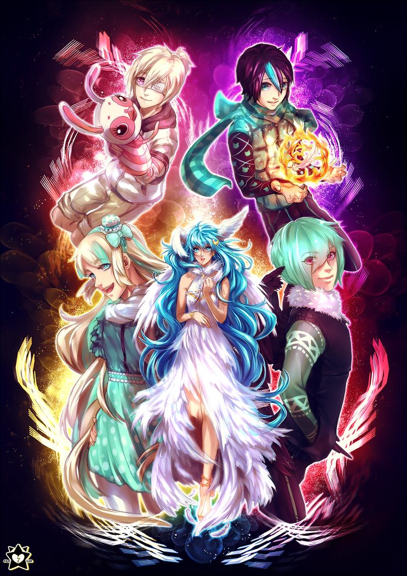 Kai, Yule, Sano, Hibiki and Luna by UnkaiTenshi