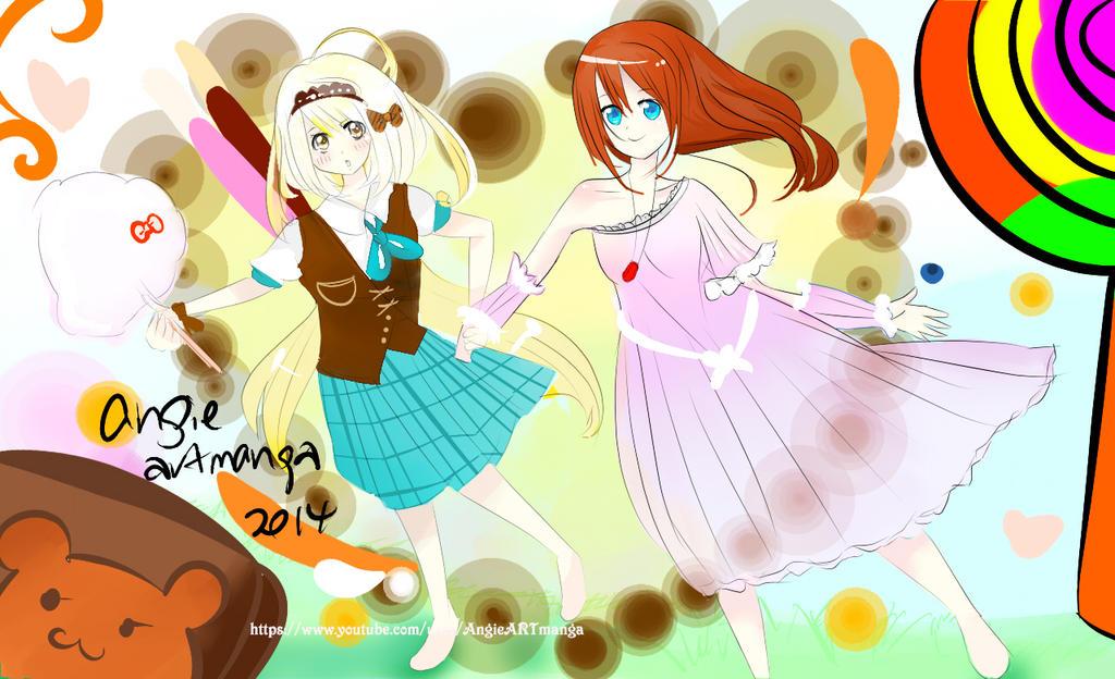Candy Girl My OC (Ali) and CubieKelly OC(Hikari) by angiewaiwai