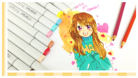 Anime Girl with copic markers