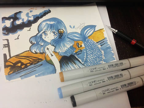 3 Copic Drawing challenge - Mermaid