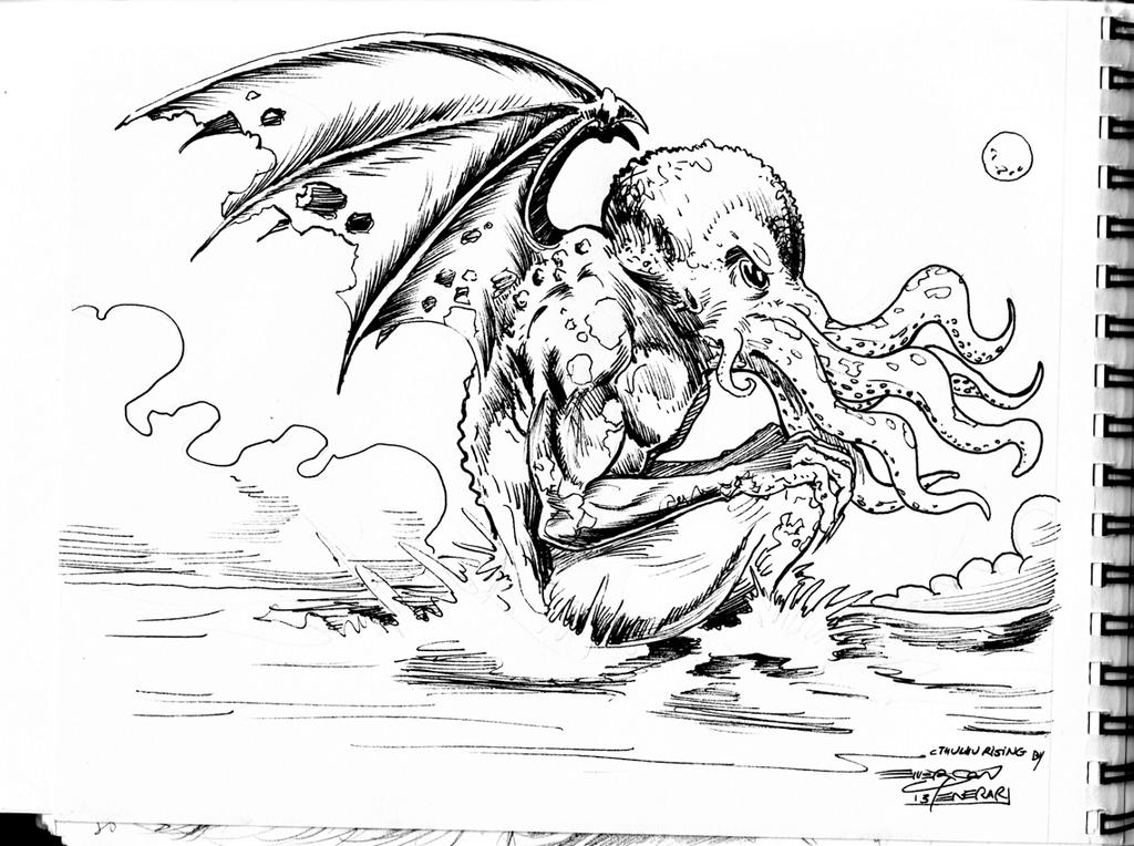 A4 sketchbook cthulhu rising by penerari on deviantart for Cthulhu coloring pages
