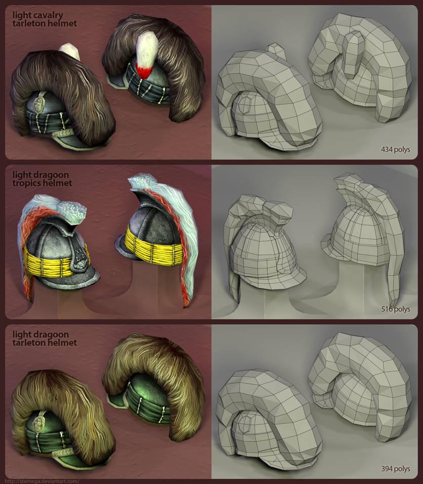 British helmets: Render + mesh