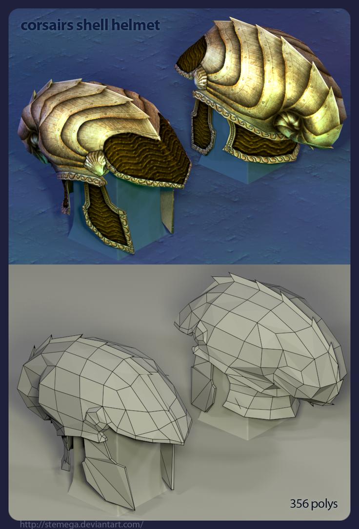 Corsairs helmet: Render + mesh by SteMega