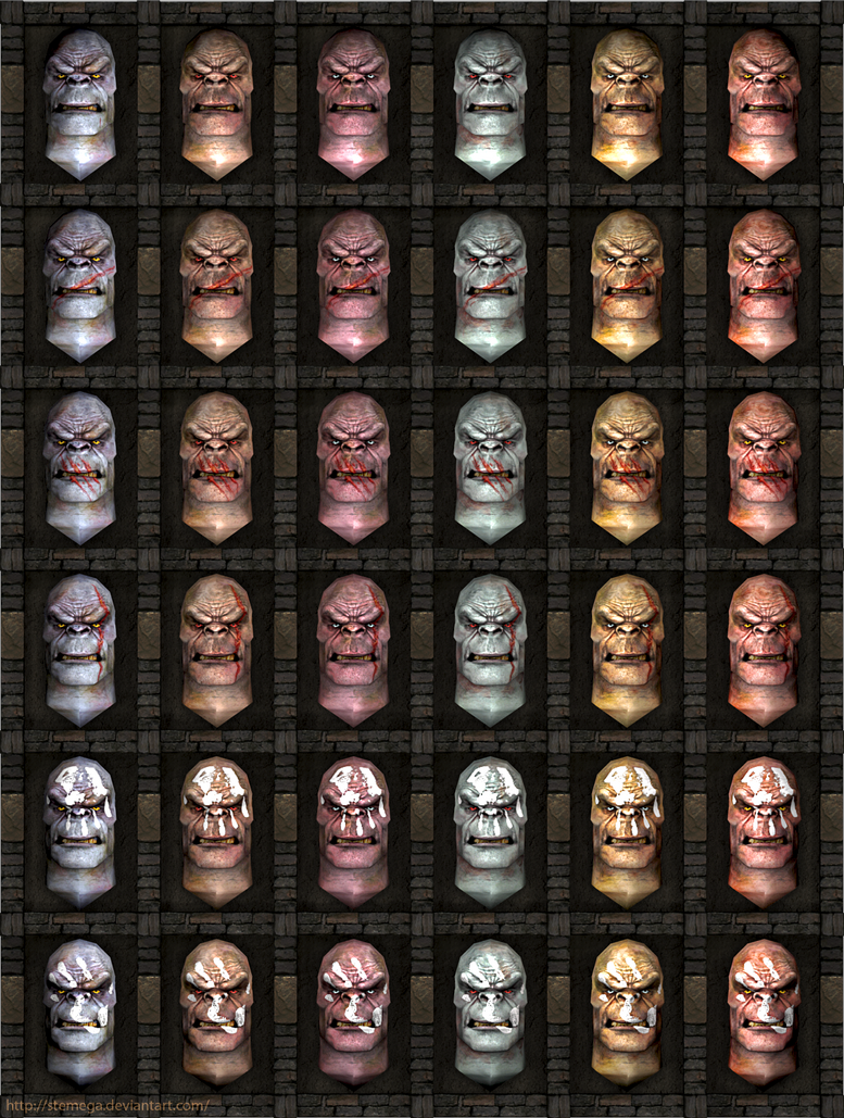 Uruk-hai heads: Head textures variations. by SteMega