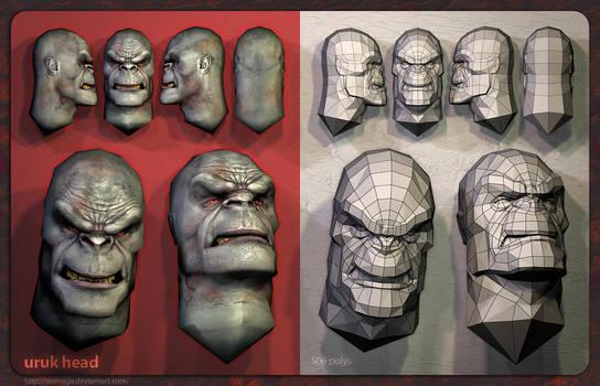 Uruk-hai heads: Mesh + render.