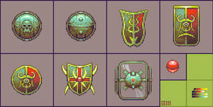Dark Disciples: shields and palette