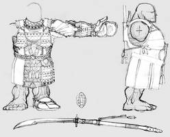 Unidev Dwarf warrior: body model sheet.