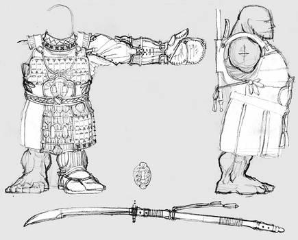 Unidev Dwarf warrior: body model sheet.