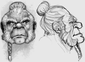 Unidev Dwarf warrior: head model sheet.