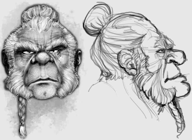 Unidev Dwarf warrior: head model sheet.
